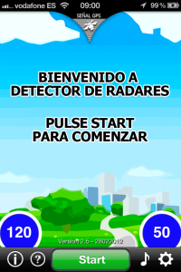 Menú principal Detector de radares
