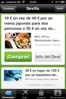 Aplicación de Groupon para iPhone