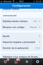 Configuración Dropbox