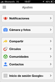 Ajustes App Google+